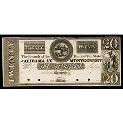 Branch of the Bank of the State of Alabama at Montgomery, ca.1830's Proof Obsolete.