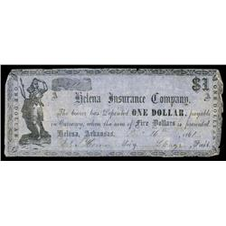 Helena Insurance Company, 1861 Obsolete Banknote.