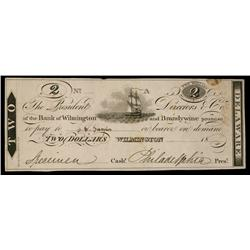 Bank of Wilmington and Brandywine ca.1830's Obsolete Proof.