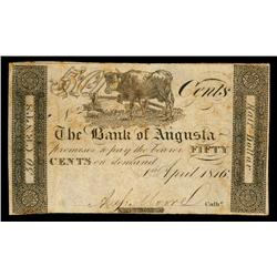 Bank of Augusta 1816 Issue Obsolete Banknote.