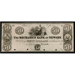Mechanics Bank at Newark ca.1820-30's Obsolete Proof.