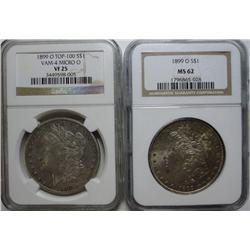 1899O micro O VAM4 TOP 100 NGC25 and 1899 normal O NGC62