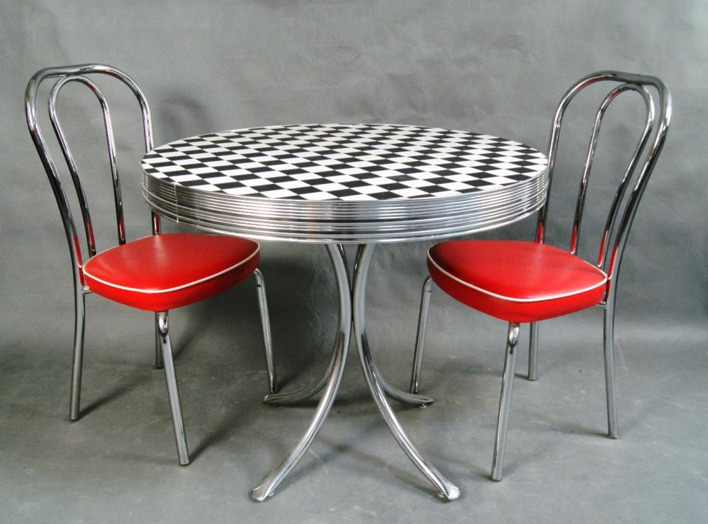 50's Checkered Dinette table & 2 chairs - 50's Checkered Dinette Table &