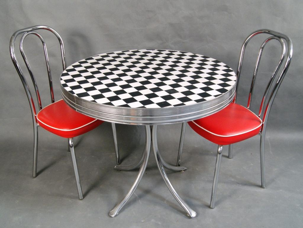 ... Image 2 : 50's Checkered Dinette table & 2 chairs ... - 50's Checkered Dinette Table & 2 Chairs