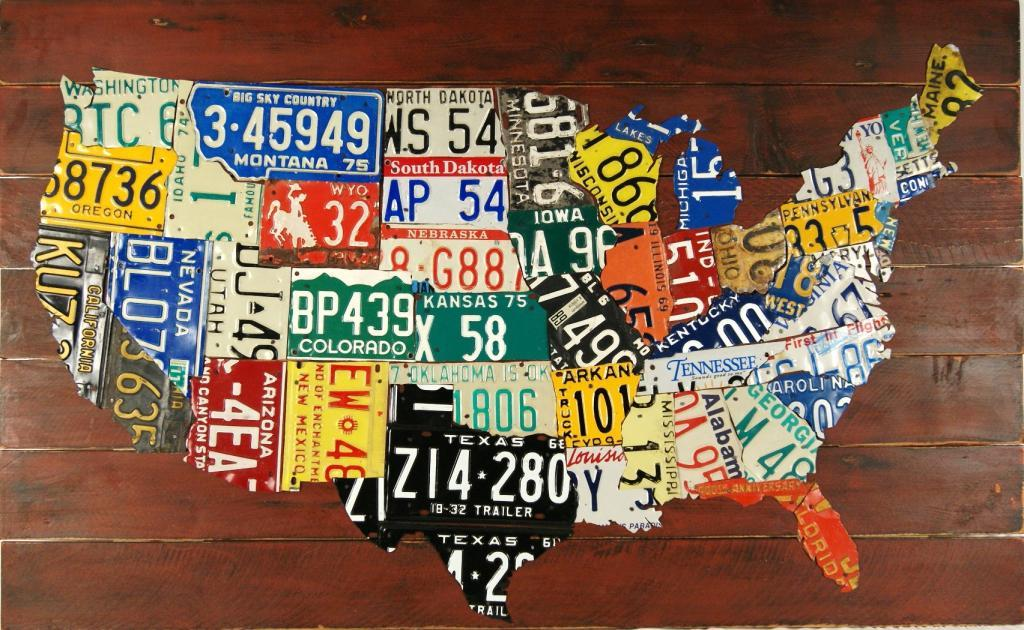 USA License Plate Map 35 X 21 Plasma Cut Metal Sign United Extra