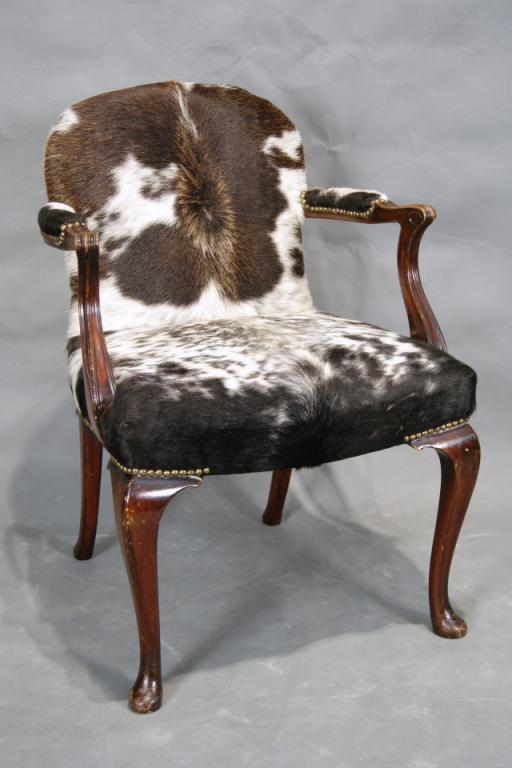 Image 1 : Queen Ann Arm Chair W/ Cowhide Upholstery ...