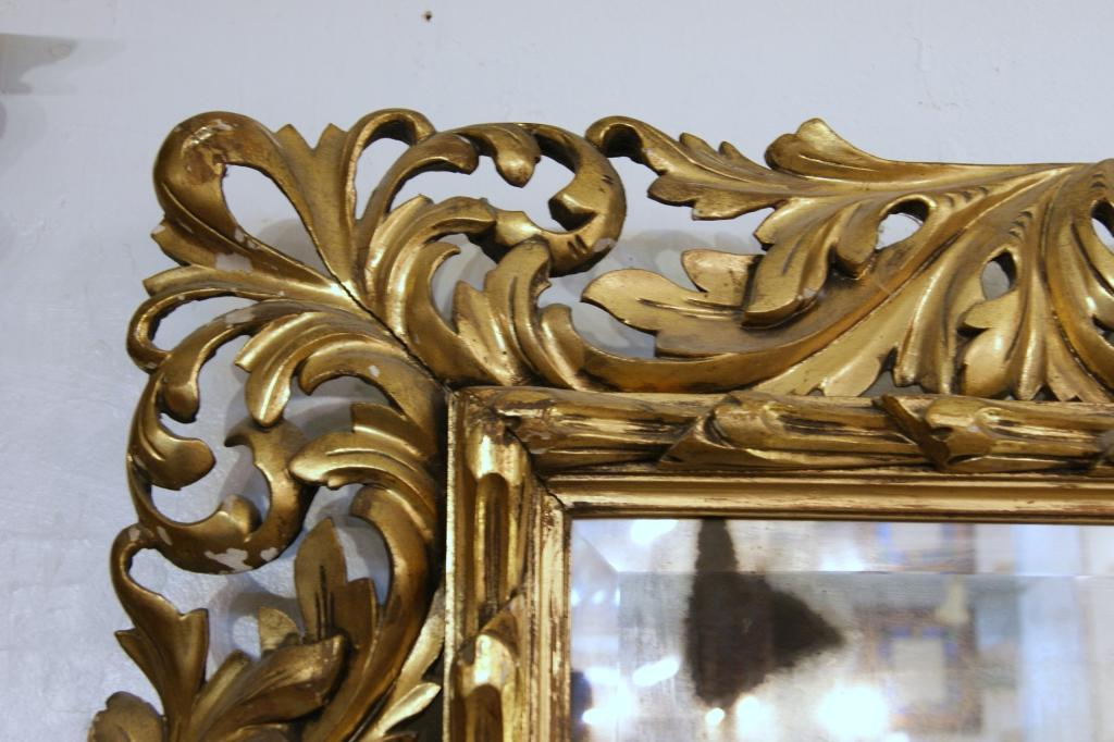 Antique Italian Carved Gilded Mirror with antique beveled glass. 47 ...