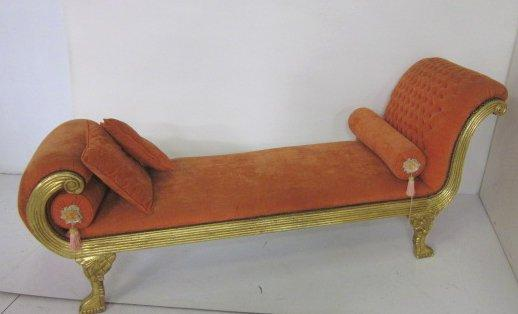 Gold leaf french chaise lounge for Asian chaise lounge