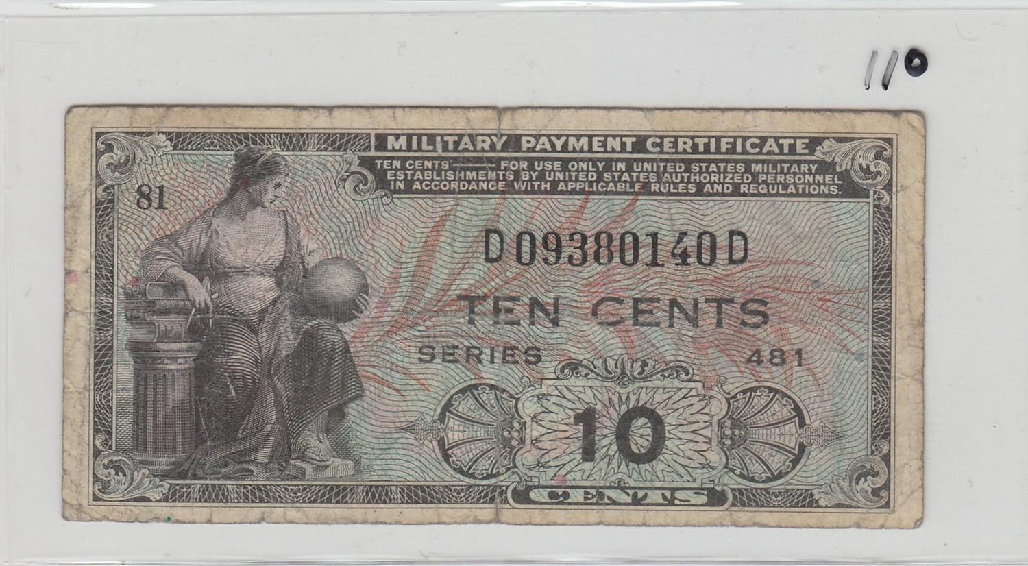 Military Payment Certificate Series 481 10 Cent