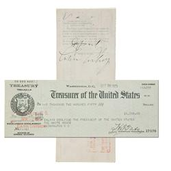 Calvin Coolidge Presidential Paycheck Signed