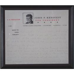 Jackie Kennedy Autograph Note