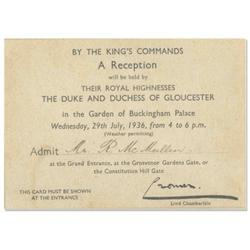 Buckingham Palace Invitation 1936
