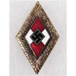 GERMAN NAZI HITLER YOUTH HJ GOLDEN HONOR BADGE W/ OAK LEAVES