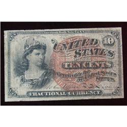 9. Series of 1863 Ten Cent Fractional Currency Note. F.