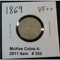 352. 1869 U.S. Shield Nickel. Cleaned. VF Details.