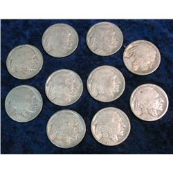 359. (10) 1918 P Buffalo Nickels. All with problems.