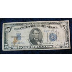 360. Series 1934 $5 Silver Certificate. VG. Some staining.