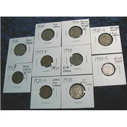 370. Group of 10 Lincoln Cents & Buffalo Nickels with Mint errors.