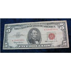 372. Series 1963 Five Dollar U.S. Note Red Seal.