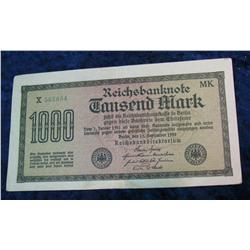 374. 1922 German Reichsbanknote 1,000 Mark. VF.