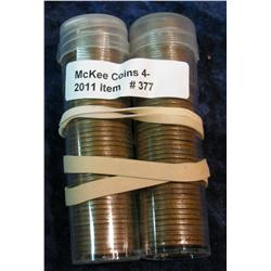 377. 1945P & 48P Solid Date Rolls of Wheat Cents.