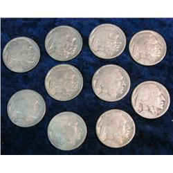 382. (10) 1916-18 P Buffalo Nickels. Most appear to be restored dates.