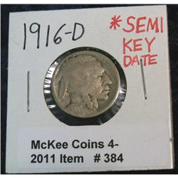 384. 1916 D Buffalo Nickel. Semi-Key.