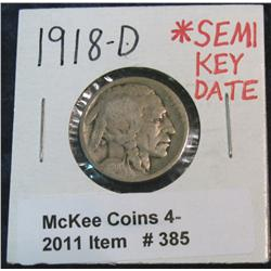 385. 1918 D Buffalo Nickel. Semi-Key.