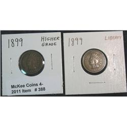 388. (2) 1899 Indian Head Cents. Both higher grades.