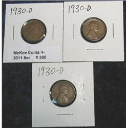 390. (3) 1930 D Lincoln Cents. VF-EF.