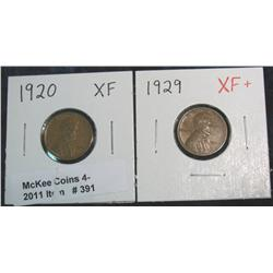 391. 1920 P & 29 P EF Lincoln Cents.