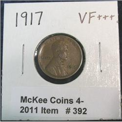 392. 1917 P Lincoln Cent. VF+++