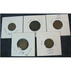1051. 1903, 04 05 06 & 07 Indian Head Cents. G-VG.