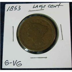 1054. 1853 US Large Cent. G-VG.