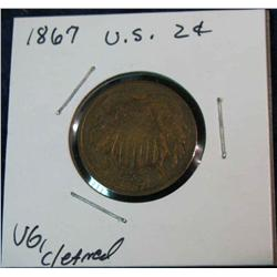1069. 1867 US 2-Cent Piece. VG Cleaned