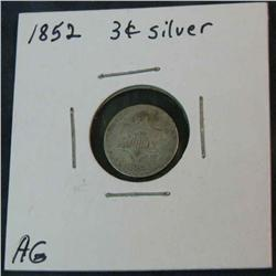 1074. 1852 US 3-Cent Silver. AG.