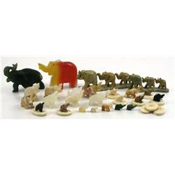 LOT OF CARVED STONE & IVORY ELEPHANTS