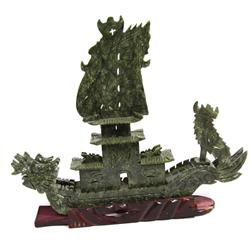 CHNESE CARVED GREEN HARDSTONE DRAGON SHIP