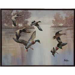 LARGE ORIGINAL PAINTING BY LEE REYNOLDS OF DUCKS