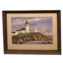 ORIGINAL WATERCOLOR LIGHTHOUSE BY AGNES RANDLE
