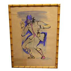 ORIGINAL FRAMED ITALIAN THEATRICAL WATERCOLOR