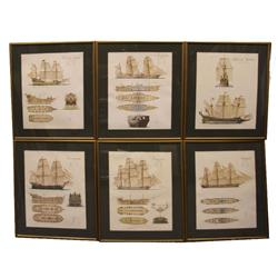 SET OF 6 FRAMED 18TH CENTURY WARSHIP PRINTS