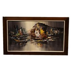 1969 SIGNED PAINTING OF SAIL BOATS ON WATER