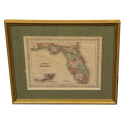 19TH C. ANTIQUE JOHNSON'S MAP OF FLORIDA