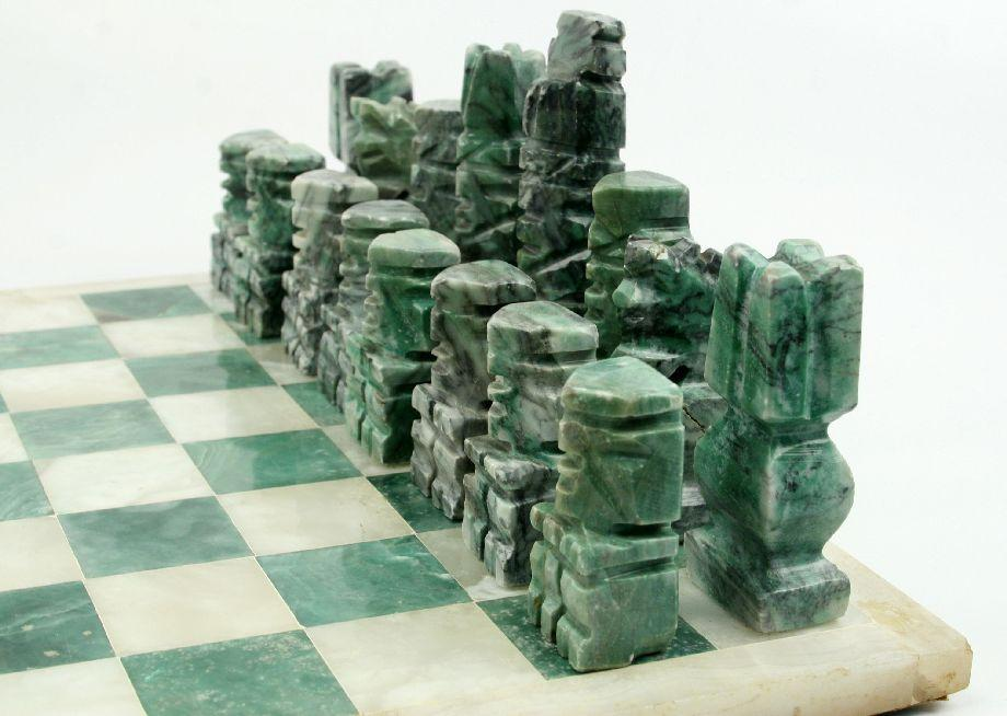 Hand carved mexican onyx chess set - Granite chess pieces ...