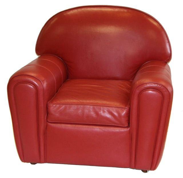 Norwalk Leather Sofa: NORWALK FURNITURE LEATHER CLUB CHAIR IN RED