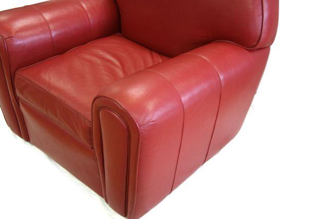 ... Image 2 : NORWALK FURNITURE LEATHER CLUB CHAIR IN RED ...
