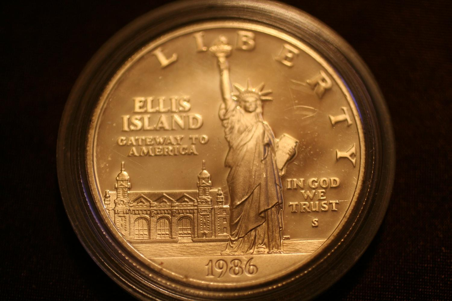 1986 Ellis Island Liberty Silver One Dollar Coin