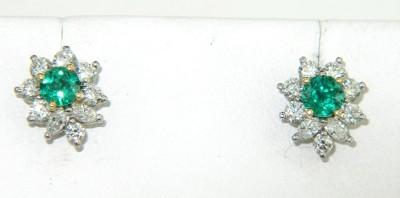 Tiffany Co Platinum Diamond Emerald Earrings Loading Zoom