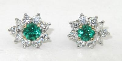 Image 4 Tiffany Co Platinum Diamond Emerald Earrings